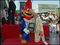Woody Woodpecker with his creator Walter Lantz