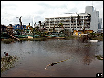 Flooding outside the Hyatt Hotel on Seven Miles Avenue on the outskirts of Georgetown, Grand Cayman