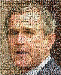 Mosaic of President Bush (pic: Joe Wezorek, American Leftist website)