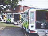 Ambulances waiting outside the hospital