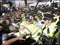 Police and protesters clash in Parliament Square