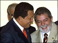 Venezuela's President Hugo Chavez (left) and President Luiz Inacio Lula da Silva of Brazil (right)