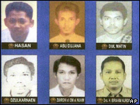 6 of the 8 suspects in the bombing outside the Australian Embassy are seen in this police handout photo released Wednesday, Sept. 15, 2004,
