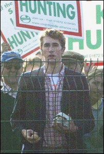 Otis Ferry pictured at a demonstration outside Tony Blair's house in Durham on 10 September