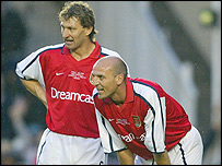 Former Arsenal defenders Tony Adams (left) and Steve Bould