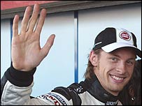 Jenson Button celebrates his first pole position in Formula One