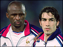 Arsenal's French midfield players Patrick Vieira (left) and Robert Pires