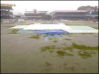Rain left most of the outfield under inches of water
