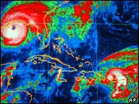 Hurricane Ivan (top left) and Hurricane Jeanne (bottom right)