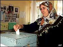 Turkish Cypriot woman voting