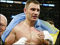 Vitali Klitschko celebrates after stopping Corrie Sanders