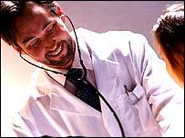 A doctor measures blood pressure
