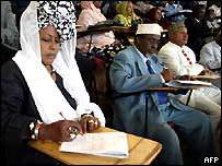 Members of the new Somali parliament in session