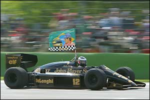 Gerhard Berger drives Ayrton Senna's first Lotus around Imola before the San Marino Grand Prix