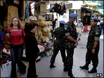 UN troops in a Nicosia market