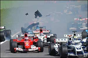 An early collision at Imola costs David Coulthard his front wing