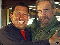 Hugo Chavez and Fidel Castro in December 2003