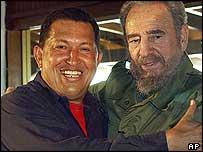 Hugo Chavez and Fidel Castro in December 2003