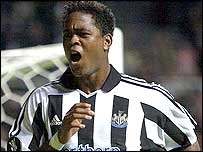 Patrick Kluivert celebrates for Newcastle
