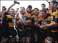 Newport celebrate winning the Welsh Premier two weeks early
