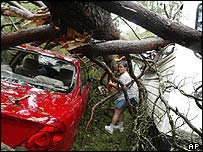Cecelia Shaw makes her way through a pine-tree-crushed car and motor home to check on the welfare of her friend
