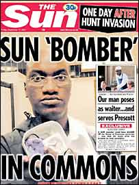 Sun front page showing 'bomber'