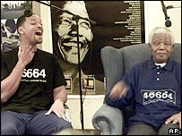 Will Smith shares a joke with Nelson Mandela