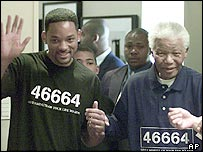 Will Smith and Nelson Mandela in South Africa on Thursday