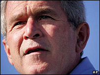 President Bush at a campaign rally in St Cloud, Minnesota, on 16 September