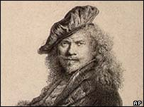 Rembrandt's 1639 etching, 'Self-Portrait Leaning on a Stone Sill
