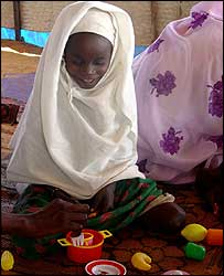 Girl playing in a refugee camp
