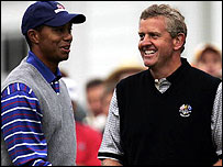 Tiger Woods and Colin Montgomerie