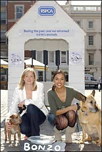 Becky Jago and Liz Bonnin with RSPCA rescue dogs