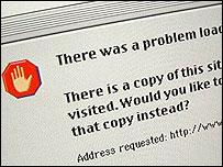 Screengrab of an internet error page