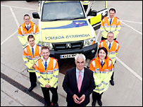 Highways Agency motorway patrol team with Alistair Darling