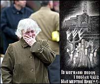 Woman cries by grave at Kiev memorial