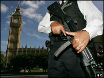 Armed police outside Westminster