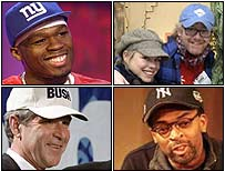 From top left, 50 Cent, Billie Piper and Chris Evans, Spike Lee and George W Bush