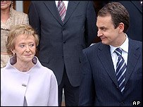 Spanish Prime Minister Zapatero and his deputy, Maria Teresa de la Vega