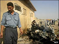 Wreckage after a car bomb in Kirkuk