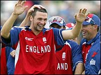 Steve Harmison celebrates a wicket