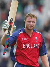 Andrew Flintoff celebrates his century at the Rose Bowl