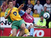 Norwich's Adam Drury and Aston Villa's Mark Delaney