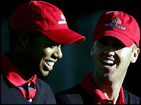 Tiger Woods and Chris Riley