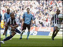 West Brom's Robert Earnshaw misses a first-half penalty