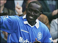 Dwight Yorke celebrates his first goal for Birmingham