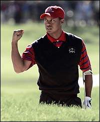 Tiger Woods celebrates another fine shot