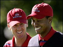 Chris Riley and Tiger Woods