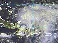 Imagen satélite de tormenta tropical Jeanne