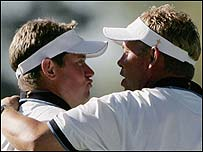 Lee Westwood (left) and Darren Clarke were in inspired form